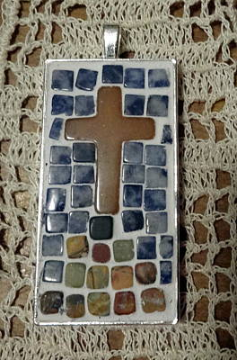 Sodalite Jewelry - Mini Cross Mosaic Pendant 13 by Kathleen Luther