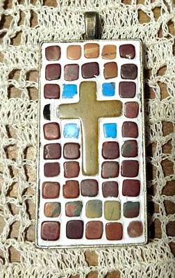 Howlite Jewelry - Mini Cross Mosaic Pendant 14 by Kathleen Luther