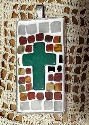 Mini Cross Mosaic Pendant 6 Original by Kathleen Luther