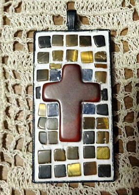 Mini Cross Mosaic Pendant 7 Original by Kathleen Luther