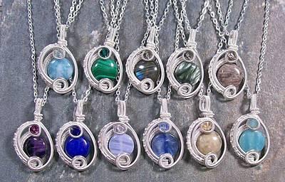 Blue Labradorite Jewelry - Mini Gemstone And Swarovski Crystal Woven Circle Pendant by Heather Jordan