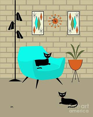 Cat Digital Art - Mini Gravel Art With Brick Wall by Donna Mibus