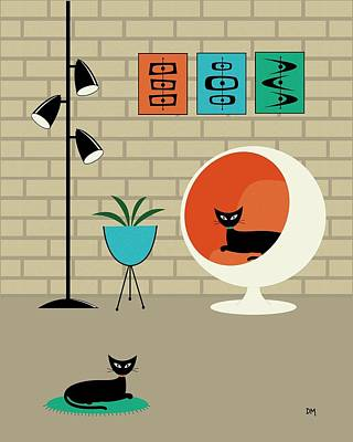 Eames Digital Art - Mini Mid Century Shapes by Donna Mibus