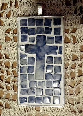 Sodalite Jewelry - Mini Mosaic Cross Pendant 5 by Kathleen Luther
