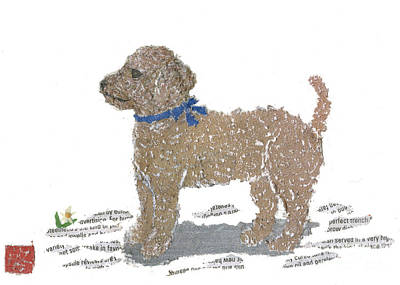 Newspaper Collage Painting - Poodle Art by Keiko Suzuki