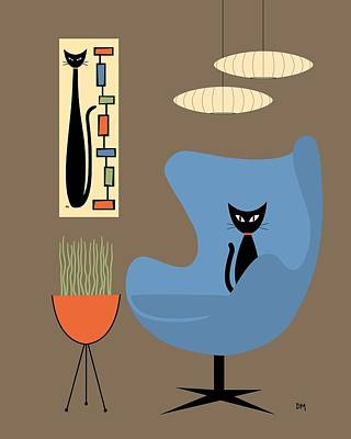 Eames Chair Wall Art - Digital Art - Mini Rectangle Cat by Donna Mibus