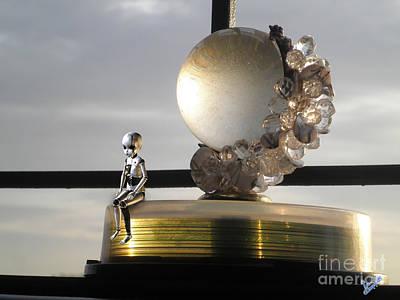 Mini Robot And Crystal Globe Art Print by Artist Nandika  Dutt