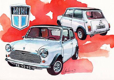 British Classic Cars Painting - Mini by Yoshiharu Miyakawa