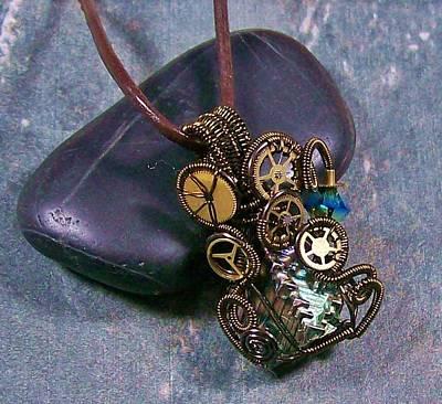 Heather Jordan Jewelry - Miniature Bronze Steampunk Bismuth Crystal Pendant by Heather Jordan