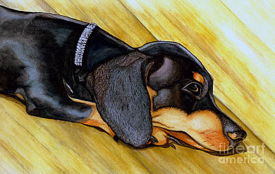 Painting - Miniature Dachshund Puppy by Janine Riley