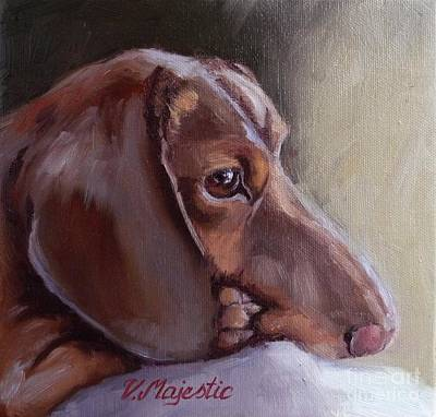 Dachshund Oil Painting - Miniature Doxin Daydreaming- Dachshund Pet Portrait by Viktoria K Majestic