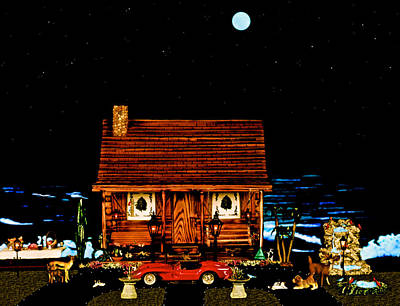 Miniature Log Cabin Scene With The Classic 1958 Ferrari 250 Testa Rossa In Color Art Print by Leslie Crotty