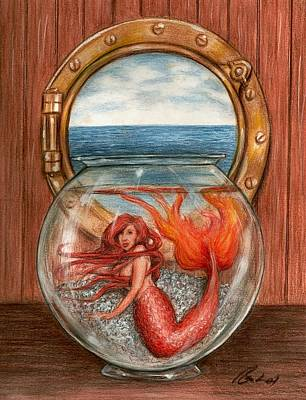 Fantasy Drawings - Miniature Mermaid by Bruce Lennon