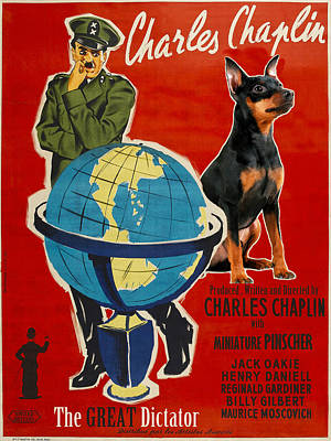 Painting - Miniature Pinscher Art Canvas Print - The Great Dictator Movie Poster by Sandra Sij