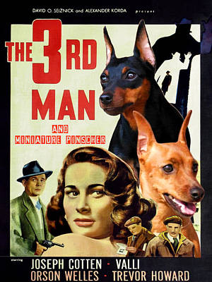 Painting - Miniature Pinscher Art Canvas Print - The Third Man Movie Poster by Sandra Sij