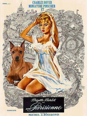 Painting - Miniature Pinscher Art Canvas Print - Una Parisienne Movie Poster by Sandra Sij