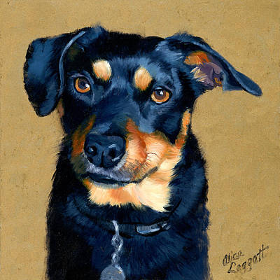 Dog Portrait Painting - Miniature Pinscher Dog Painting by Alice Leggett