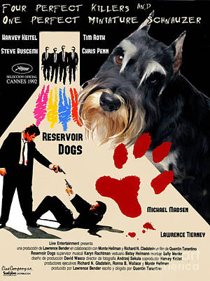Miniature Schnauzer Painting - Miniature Schnauzer Art Canvas Print - Reservoir Dogs Movie Poster by Sandra Sij