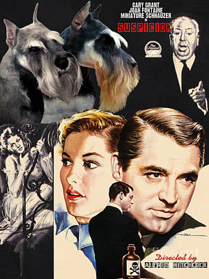 Miniature Schnauzer Painting - Miniature Schnauzer Art Canvas Print - Suspicion Movie Poster by Sandra Sij