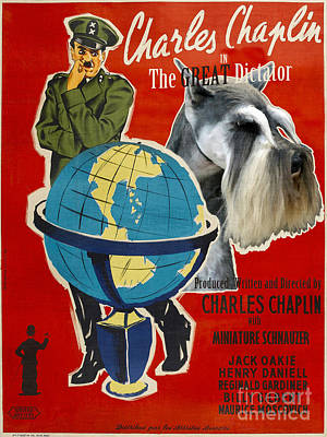 Miniature Schnauzer Painting - Miniature Schnauzer Art Canvas Print - The Great Dictator Movie Poster by Sandra Sij