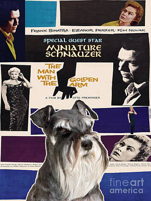 Miniature Schnauzer Painting - Miniature Schnauzer Art Canvas Print - The Man With The Golden Arm Movie Poster by Sandra Sij