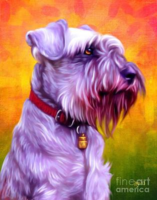 Cute Schnauzer Digital Art - Miniature Schnauzer Pink by Iain McDonald