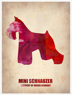 Miniature Painting - Miniature Schnauzer Poster by Naxart Studio