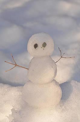 Miniature Snowman Portrait Art Print
