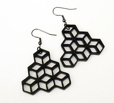 Laser Cut Gifts Jewelry - Minimal Geometry - Cube Earrings by Rony Bank