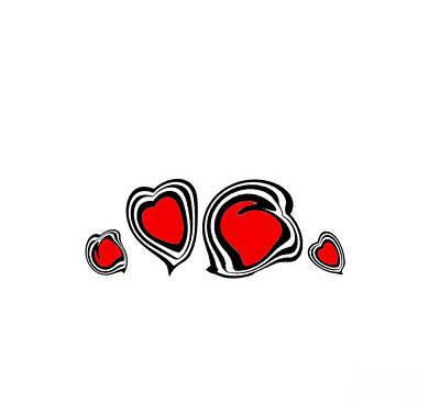 Hearts Minimalism Black White Red Abstract Art No.105. Original by Drinka Mercep