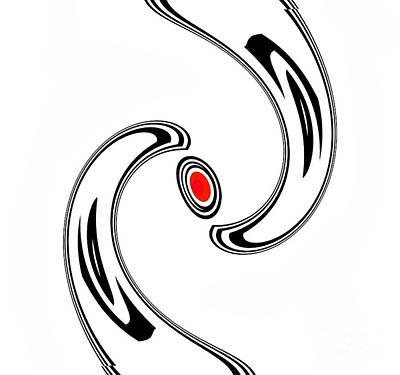 Concentration Digital Art - Minimalist Art Black White Red Abstract Print No.21. by Drinka Mercep