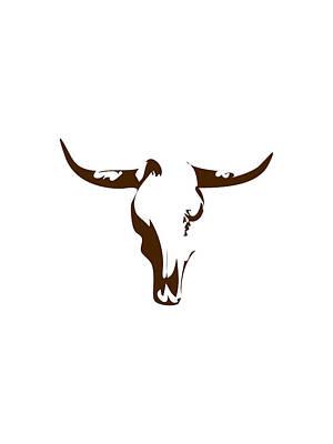Southwest Landscape Digital Art - Minimalist Bull Skull Poster by Celestial Images
