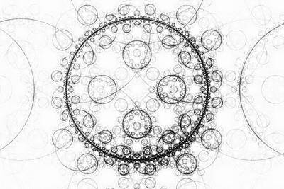 Digital Art - Minimalist Fractal Art Black And White Circles by Matthias Hauser