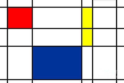 Grid Mixed Media - Minimalist Mondrian by Celestial Images