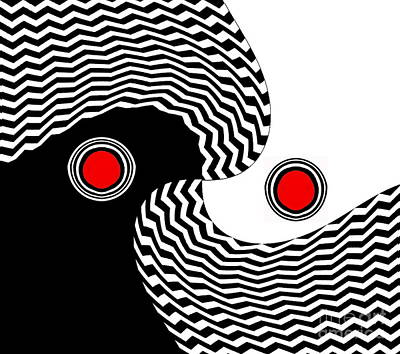 Digital Art - Minimalist Op Art Black White Red No.216 by Drinka Mercep