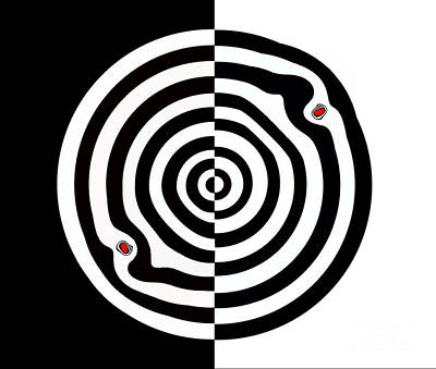 Concentration Digital Art - Minimalist Op Art Circles Black White Red No.114. by Drinka Mercep