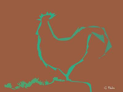 Painting - Minimalist Rooster by George Pedro