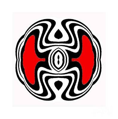 Concentration Digital Art - Minimalsm Art Geometric Black White Red No.84. by Drinka Mercep