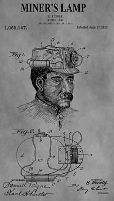 Mining Hat Patent Art Print by Dan Sproul