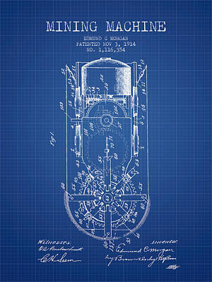 Machinery Drawing - Mining Machine Patent From 1914- Blueprint by Aged Pixel