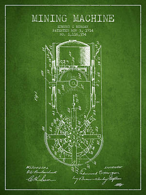 Machinery Drawing - Mining Machine Patent From 1914- Green by Aged Pixel