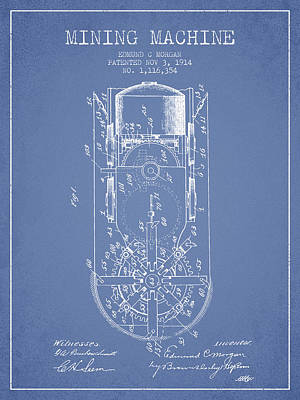 Machinery Drawing - Mining Machine Patent From 1914- Light Blue by Aged Pixel