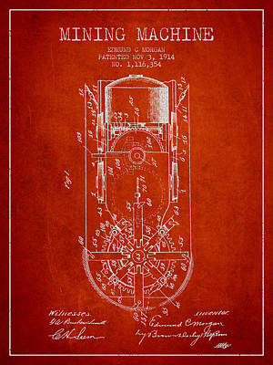 Miner Digital Art - Mining Machine Patent From 1914- Red by Aged Pixel