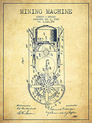 Machinery Drawing - Mining Machine Patent From 1914- Vintage by Aged Pixel
