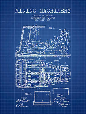 Machinery Drawing - Mining Machinery Patent From 1915- Blueprint by Aged Pixel