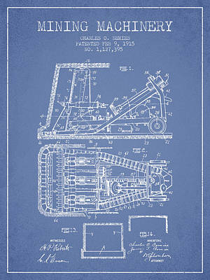 Machinery Digital Art - Mining Machinery Patent From 1915- Light Blue by Aged Pixel