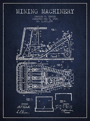 Machinery Drawing - Mining Machinery Patent From 1915- Navy Blue by Aged Pixel