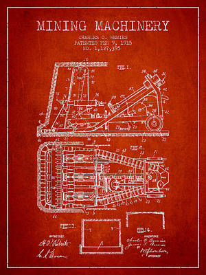Machinery Drawing - Mining Machinery Patent From 1915- Red by Aged Pixel