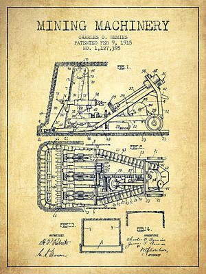 Machinery Drawing - Mining Machinery Patent From 1915- Vintage by Aged Pixel