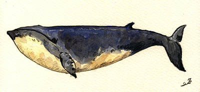 Hunt Painting - Minke Whale by Juan  Bosco